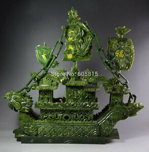 Large Chinese Hand Carved 100 Natural Jade Dragon Incense Statue Dragon Boat