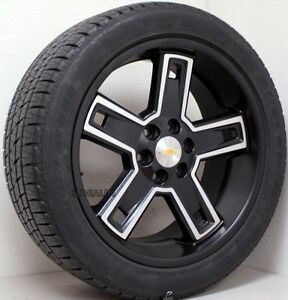 Chevy Silverado Tahoe Suburban 22 Black Machine Wheels Rims Tires Fit 2000 18