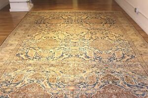 9 X 17 Persian Isfahan Handmade Hand Knotted Genuine Antique Rug Mint Huge