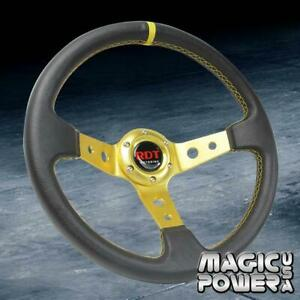 Black gold 350mm Deep Dish Sport Style Racing Steering Wheel For Toyota scion