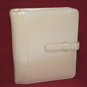 Franklin Covey Compact Tan Leather Planner Binder 1 Rings Open Strap Closure