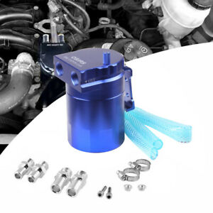 Blue Aluminum Baffled Oil Catch Can Tank Reservoir Breather With Fittings J6i4