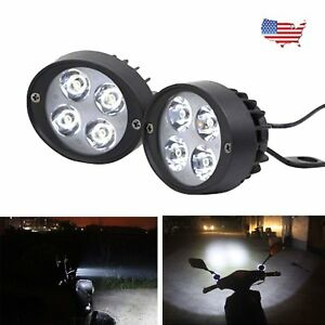 Motorcycle Headlight Spot Fog Lights Front Head Lamp 4 Led Pair 12v Driving Us