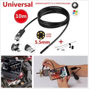 10m 5 5mm 6led Hd Endoscope Snake Borescope Usb Inspection Camera For Android Pc
