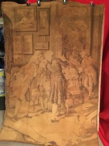 Vintage French Tapestry Classical Scene Of The 17th Century