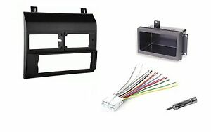Black Single Din Dash Kit Wiring Harness Install Kit Fits 88 94 Chevy Gmc Trucks