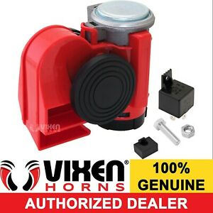 LOUD COMPACT DUAL-TONE ELECTRIC AIR HORN MOTORCYCLE/CAR/ATV 12V RED VXH1608R