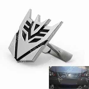 3d Car Transformers Decepticon Front Grille Grill Badge Emblem Decals Chrome E2