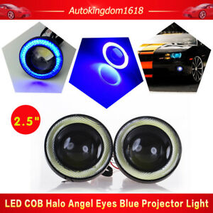 2pcs Angel Eye Blue Cob Halo Ring Car Suv Led Drl Projector Lens Fog High Power