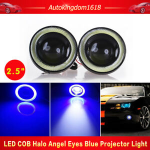 Pair Cob Halo Angel Eye Rings W Blue Led Drl Projector Fog Light For Nissan