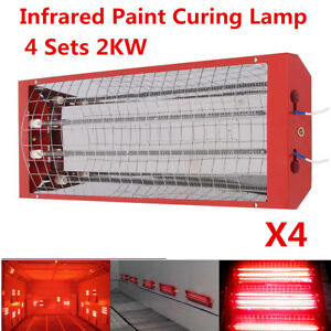 2kw 4sets Spray Baking Booth Infrared Paint Curing Lamp Heater Heating Light New