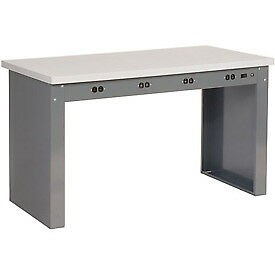 60 w X 36 d Panel Leg Workbench With Power Apron And Plastic Laminate Square