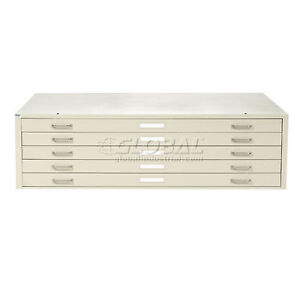 Interion Blueprint Flat File Cabinet 5 Drawer 54 Putty