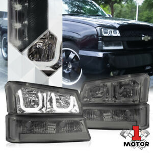 Smoked Dual 3d U halo Headlight Led Drl Clear Signal For 03 06 Chevy Silverado