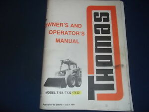 Thomas T103 T132 T133 Skid Steer Operator Operation Maintenance Manual Book