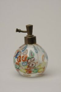 Antique Wales Japan Glass Atomizer Perfume Bottle Clear With Color Merinis