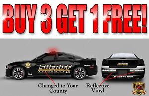 Sheriff Vehicle Patrol Car Dodge Charger Vinyl Graphic Decal Lettering Kit
