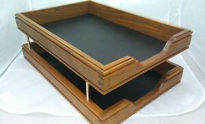 Vintage Walnut Dovetailed Inbox Paper Tray File Desk Letter Organizer