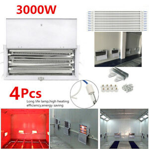4set 3kw 220v Spray Baking Booth Infrared Paint Curing Lamp Heating Light Heater