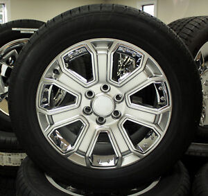 Chevy 20 Hyper Silver With Chrome Wheels Tires Tahoe Ltz Silverado Suburban Z71