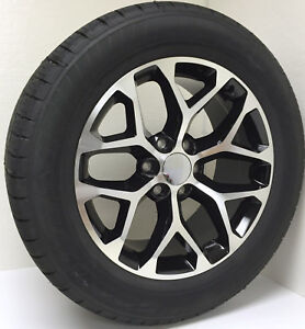 Chevy Silverado 20 Black And Machine Snowflake Wheels Tires Z71 Suburban Tahoe