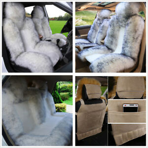 3pc Genuine Australian Sheepskin Fur Car Front Rear Seat Covers Cushion Full Set