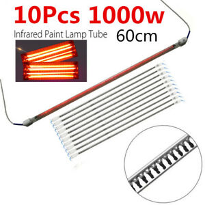 10pcs 60cm 1000w Spray Baking Booth Ir Infrared Paint Curing Lamp Heating Tubes