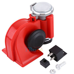 Motorcycle Car Air Horn 12v 130db Snail Dual Tone Loud Compact Truck Boat Red Us