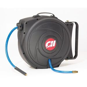 Air Hose Reel With Retractable 50 Foot Hose 3 8 Inch Id Mountable Swivel