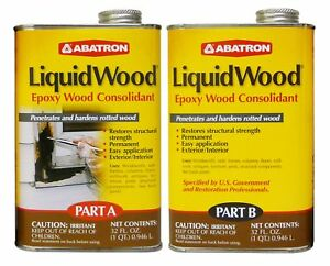 Abatron Liquidwood Epoxy Wood Consolidant 2 Quart Kit Part A B