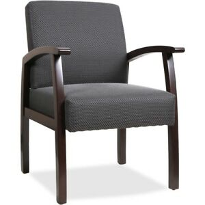 Black Upholstery Fabric Guest Arm Chair Wood Lobby Visitors Desk Side Chairs New