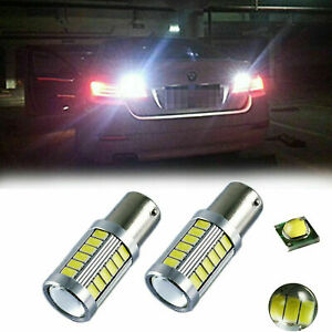 2x High Power Super White 33 Smd 1156 Ba15s Led Bulbs For Backup Reverse Lights