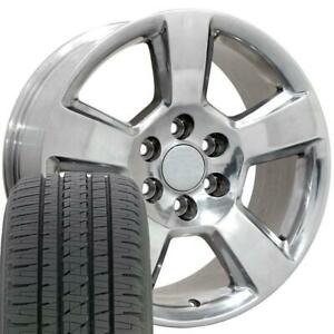 20x9 Wheel Tire Set Fit Chevy Tahoe Style Polished Rims W tires 5652