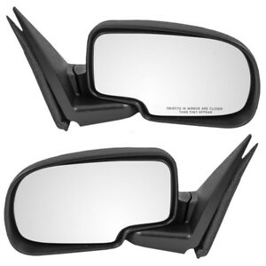 New Pair Manual Side Mirror Glass Housing Textured Chevy Gmc Pickup Truck Suv
