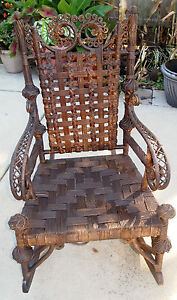 Antique Heywood Wakefield Rattan Wicker Rocking Chair Ca 1900 Rocker Orig Label