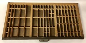 Antique Type Tray Hamilton Wood Printers Drawer 82 Sections Shadow Box W Handle