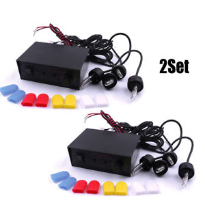 2sets 4 White Led 8 Cap Vehicle Flash Strobe Emergency Light Bulb Headlight Kit
