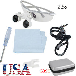 Usa Ship Dental Surgical Medical Binocular Loupes 2 5x R 360 580mm Loupe case A