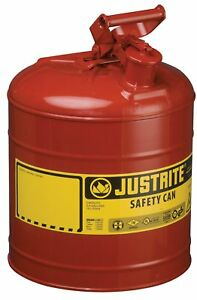 Justrite 7150100 Type I Galvanized Steel Flammables Safety Can 5 Gallon
