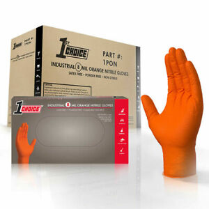 1st Choice Orange Nitrile Industrial Latex Free Disposable Gloves case Of 400