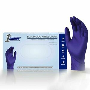 1st Choice Indigo Medical Nitrile Exam Latex Free Disposable Gloves 1000 ct