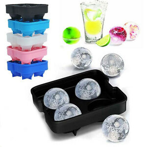 Whiskey Silicon Ice Cube Ball Maker Molds Sphere Mould Brick Tray Round BarTray