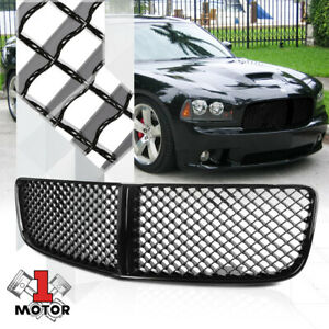 Glossy Black 3d Wave Mesh Front Bumper Grille grill For 06 10 Dodge Charger Lx