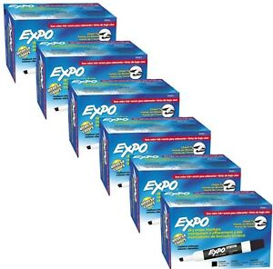 72 Black Expo 2 Low Odor Dry Board Erase Markers Chisel Tip Six 12 Pack Boxes