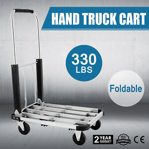 330 Lbs 4 Wheel Foldable Aluminum Cart Folding Dolly Hand Collapsible Trolley