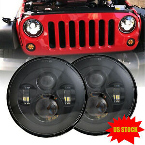 Dot Approved 7 Round Osram Led Headlights Hi Lo Beam For Jeep Wrangler Jk Tj Cj