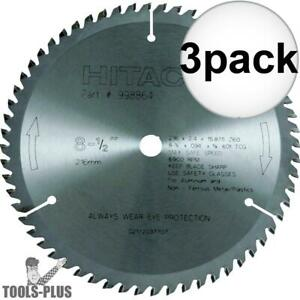 Hitachi 998864 3x 8 1 2 X 60 T Non ferrous Carbide Circular Saw Blade New