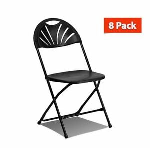 8 Commercial Plastic Folding Chairs Black Fan Back Seat Party Event Office Chair
