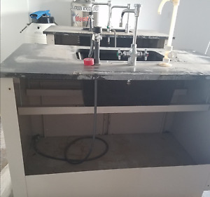 54 Lab Casework Metal Sink With Epoxy Tops And Pegboard drying Rack