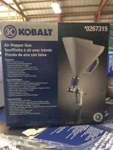 New Kobalt 3 ft Gravity Hopper Gun Solid brass Bi pod Durable Sprayer 3 Nozzle